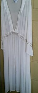 April Cornell Sheer White Overdress w Sequins XL